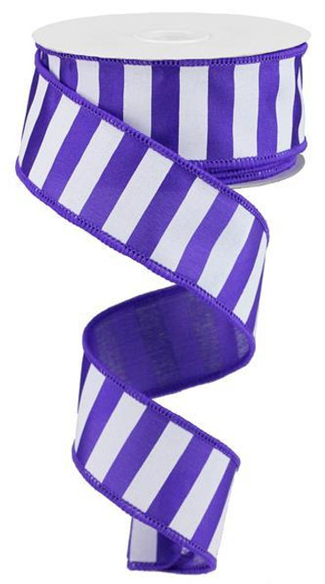 "1.5"" x 10yd Medium Horizontal Stripe Ribbon: Purple/White"