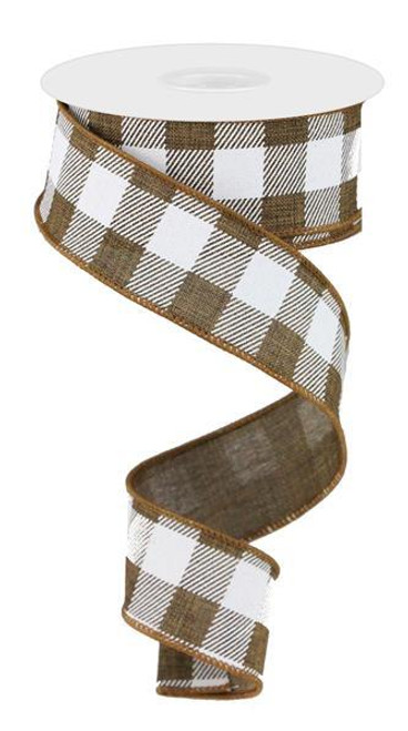"1.5"" Plaid Check Ribbon: Brown/White - 10Yds"