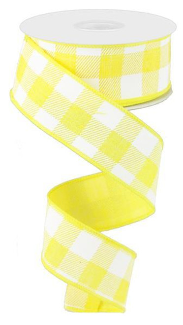 "1.5"" Plaid Check Ribbon: Yellow/White - 10Yds"