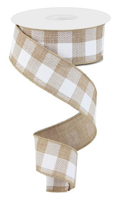 "1.5"" Plaid Check Ribbon: Lt Tan/White - 10Yds"