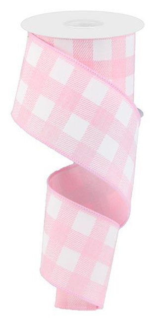 "2.5"" Plaid Check Ribbon: Lt Pink/White - 10Yds"