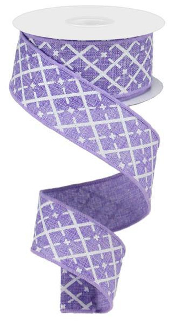 "1.5"" Glittered Argyle Ribbon: Lavender (10yds)"