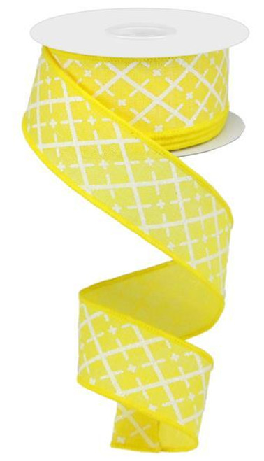 "1.5"" Glittered Argyle Ribbon: Yellow (10yds)"