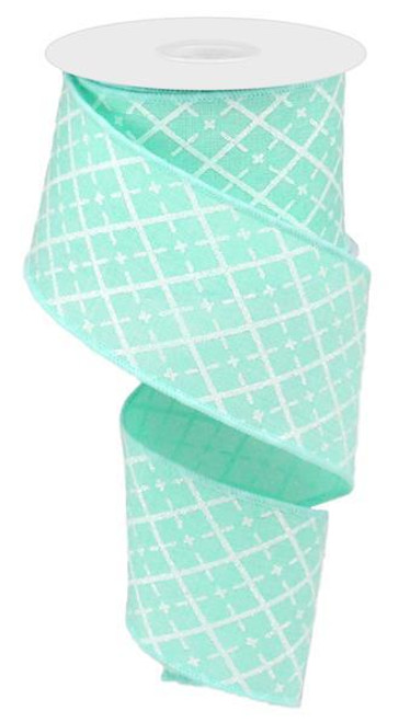 "2.5"" Glittered Argyle Ribbon: Mint (10yds)"