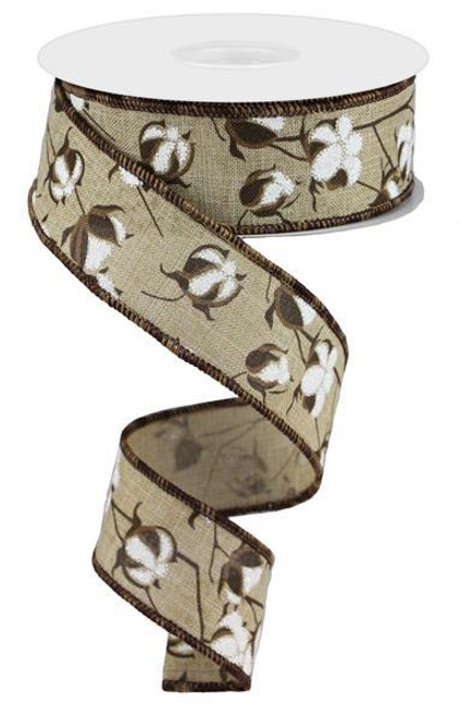 "1.5"" Cotton Pod Ribbon: Natural - 10Yds"