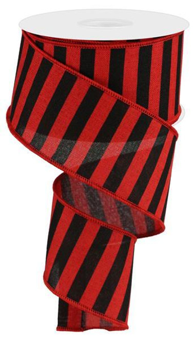 "2.5"" Medium Horizontal Stripe Ribbon: Red/Black Linen"