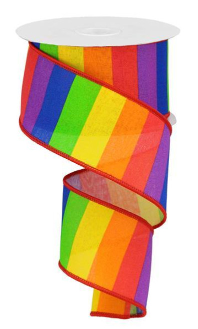 "2.5"" Horizontal Primary Rainbow Stripe Ribbon"