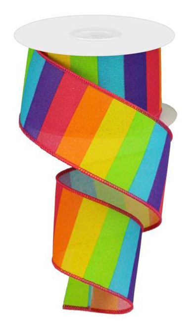 "2.5"" Horizontal Bright Rainbow Stripe Ribbon"