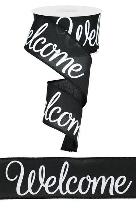 "2.5"" Welcome Print Ribbon: Black/White - 10yds"