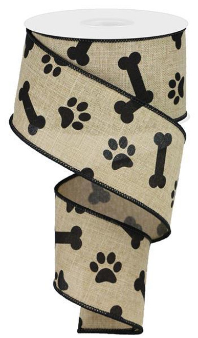 "2.5"" Paw Print Bone Ribbon: Lt Beige/Black - 10Yds"