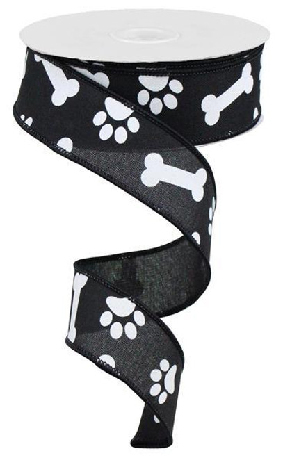 "1.5"" Paw Print Bone Ribbon: Black/White - 10Yds"