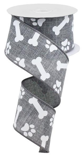 "2.5"" Paw Print Bone Ribbon: Grey/White- 10Yds"