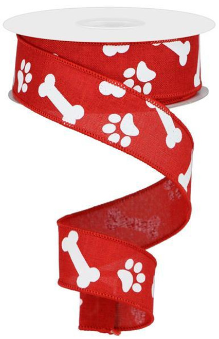 "1.5"" Paw Print Bone Ribbon: Red/White - 10Yds"