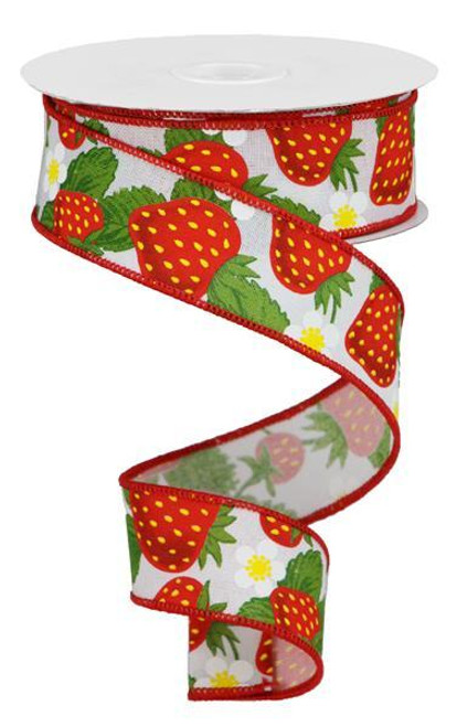 "1.5"" Strawberry Print Ribbon: White - 10Yd"