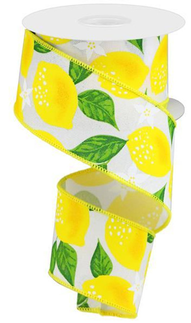 "2.5"" Lemon Print Ribbon: White - 10Yd"