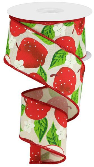 "2.5"" Apple Print Ribbon: Cream - 10Yd"