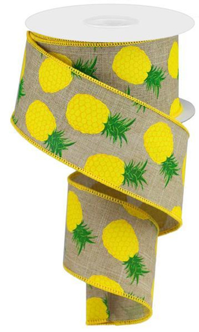 "2.5"" Pineapple Print Ribbon: Beige - 10Yd"