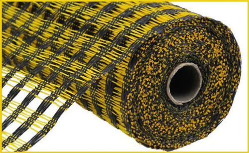 "10"" Poly Burlap Weaved Mesh: Black/Yellow"