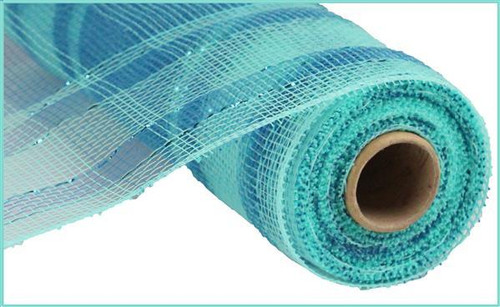 "10"" Deco Poly Mesh: Metallic Plaid Aqua/Turq"