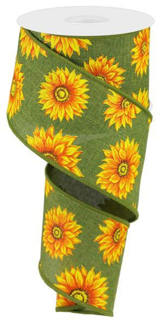 "2.5"" Multi Sunflower Ribbon: Moss Green - 10Yds"