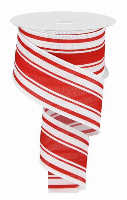 "2.5"" Farmhouse Stripe Ribbon: White/Red - 10yds"