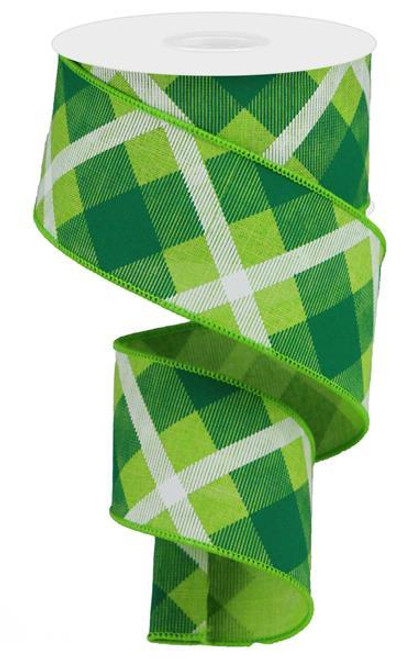 "2.5"" Diagonal Plaid Ribbon: Lime/Green/Wht - 10yds"
