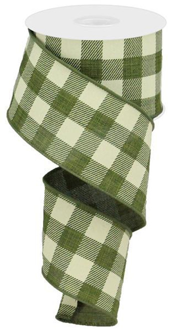 "2.5"" Plaid Check Ribbon: Moss Green/Ivory - 10Yds"