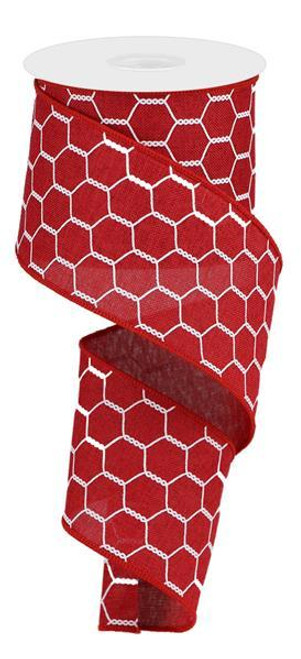 "2.5"" Chicken Wire Ribbon: Cranberry/White - 10yds"