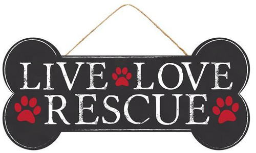 "12.5"" Live/Love/Rescue Dog Bone Sign"