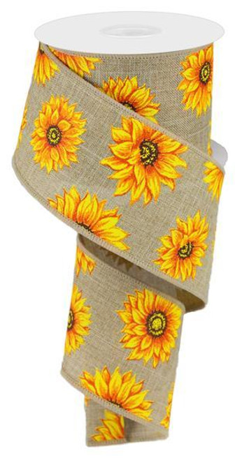 "2.5"" Multi Sunflower Ribbon: Beige - 10Yds"