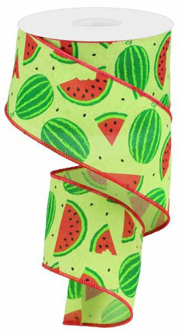 "2.5"" New Watermelon Slices Linen Ribbon - 10Yds"