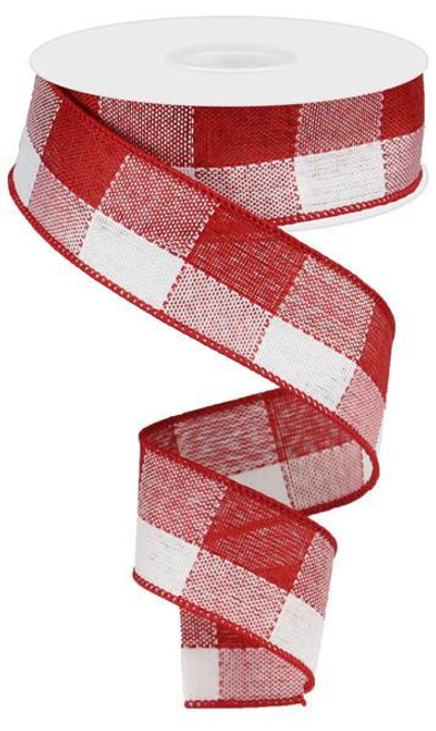 "1.5"" Large Woven Check Ribbon: Red/White - 10Yds"