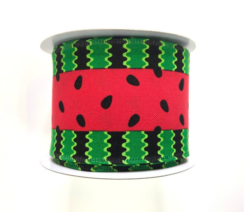 "2.5"" Canvas Watermelon Stripe Ribbon - 10Yds"
