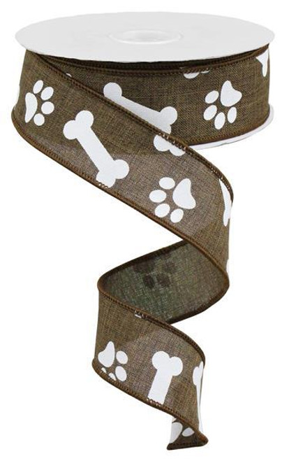 "1.5"" Paw Print Bone Ribbon: Brown/White - 10Yds"