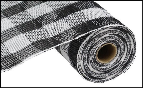 "10.5"" Faux Jute Check Mesh: Black/White"
