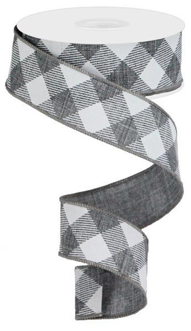 "1.5"" Diagonal Check Ribbon: Grey/White - 10Yds"