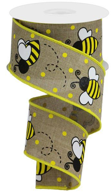 "2.5"" New Bumblebee Dot Ribbon: Lt Beige"