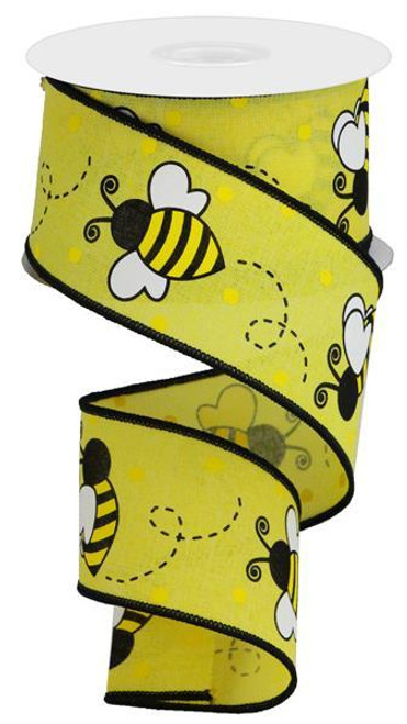 "2.5"" New Bumblebee Dot Ribbon: Yellow"