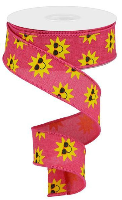 "1.5"" Sunshine Print Ribbon: Hot Pink - 10Yds"