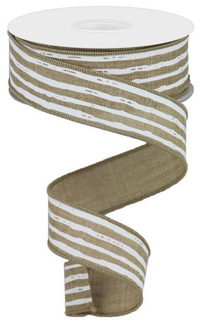 "1.5"" Irregular Stripe Ribbon: Beige/White"