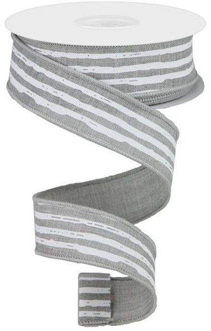 "1.5"" Irregular Stripe Ribbon: Lt Grey/White"