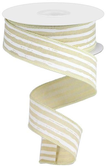 "1.5"" Irregular Stripe Ribbon: Cream/White"