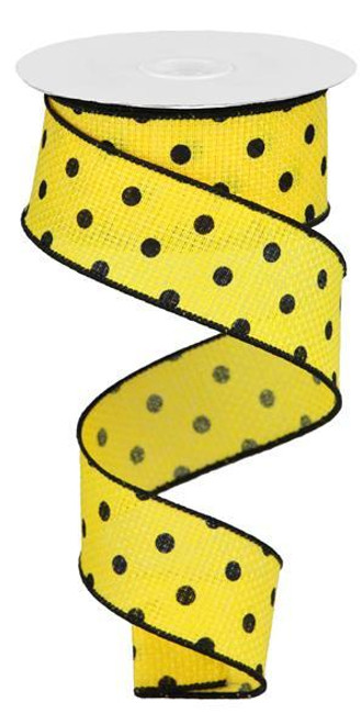 "1.5"" Small Dot Faux Burlap Ribbon: Yllw/Blk - 10Yds"