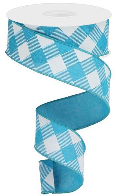 "1.5"" Diagonal Check Ribbon: Turquoise Blue/White - 10Yds"
