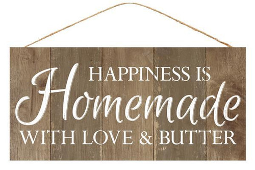 "12.5"" Happiness Is Homemade, Love & Butter Sign"