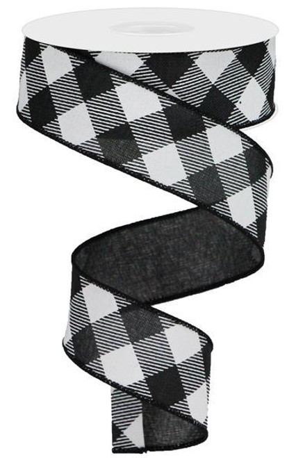 "1.5"" Diagonal Check Ribbon: Black/White - 10Yds"