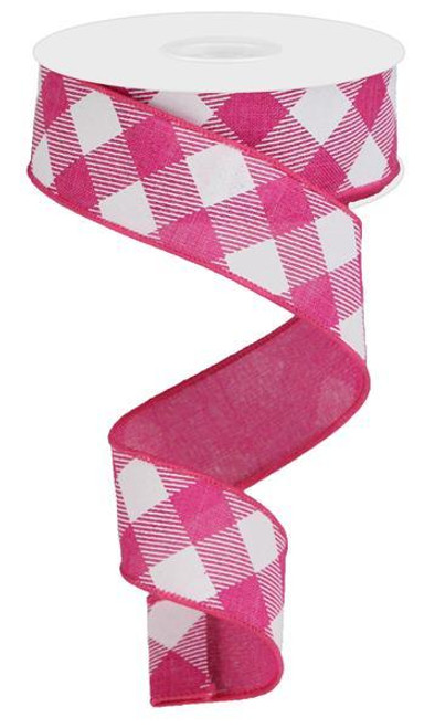 "1.5"" Diagonal Check Ribbon: Hot Pink/White - 10Yds"