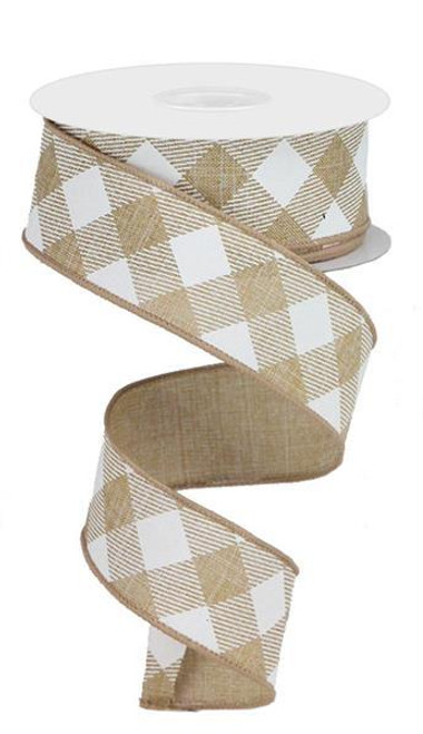 "1.5"" Diagonal Check Ribbon: Tan/White - 10Yds"