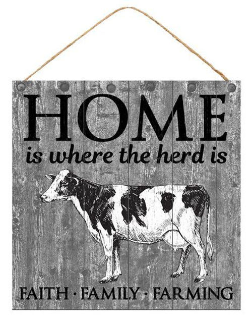 "10"" Square Home is Where the Herd is Sign"