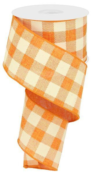 "2.5"" Plaid Check Ribbon: Orange/Ivory - 10Yds"